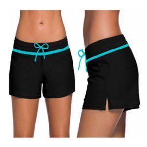 Side Split Black Wide Band Swim Boy Shorts